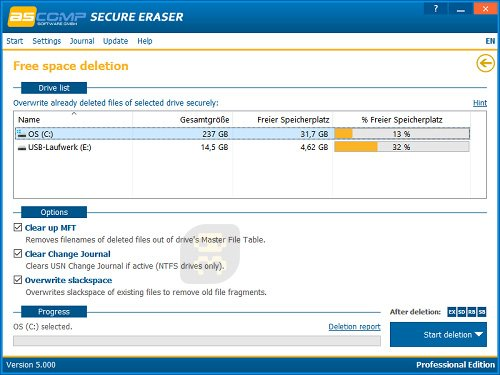 Secure Eraser Professional Edition 5.000 - Unrecoverable Files Cleanup Crack